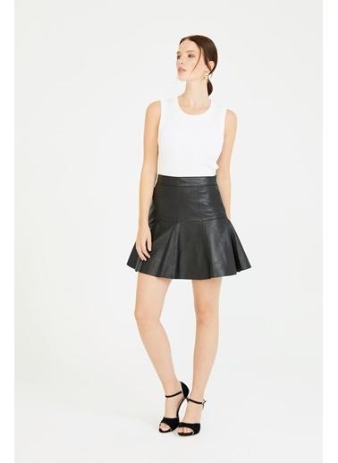 Deri Company Kadın Hakiki (Gerçek) Deri Etek Alexa Pileli Siyah 222503 Siyah